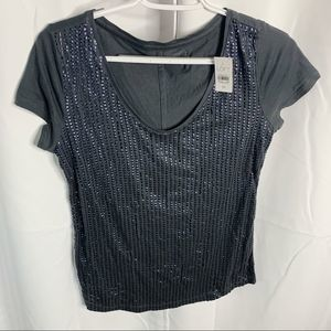 New loft beaded V-neck blouse XS gray